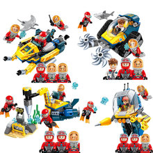 New Hot Enlighten Deep Sea Mission Submarine Exploration Ship DIY Model Building Blocks kit Bricks Educational Toys for Children