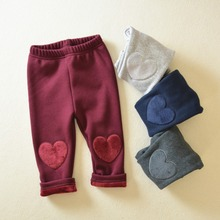 1-4Y Kids Pencil Pants Toddlers Infants Baby Girl Cotton Trousers Slacks warm winter casual pant with velvet cute heart PP pant