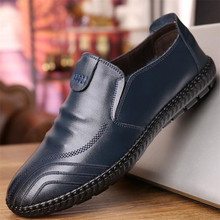 ELGEER New breathable mens foot 100% leather soft online business casual shoes