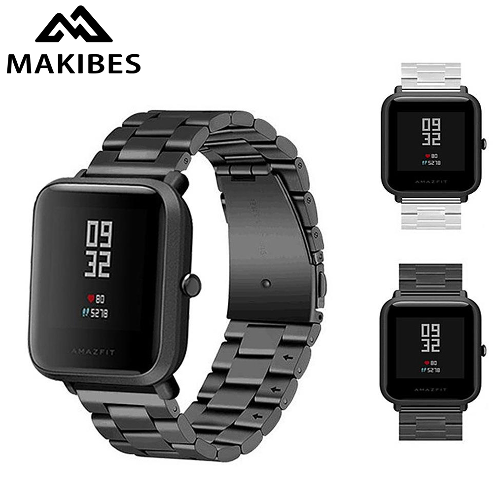 20mm Universal Replacement Watch Band Steel Lite Mesh Metal Strap For Huami Xiaomi Amazfit Bip For WeLoop Hey 3s /Ticwatch2/ GTS