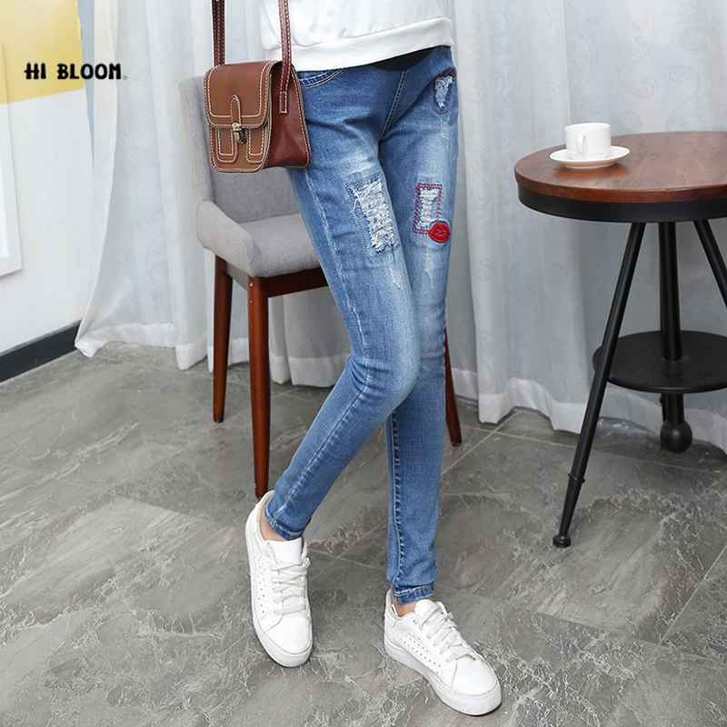 New Denim Blue Maternity Jeans Overalls Jumpsuite Casual Pregnant Trousers Red Lip Fall Spring Winter Clothes for Pregnant Women autumn denim overalls for pregnant women jumpsuit pregnant clothes rompers jeans maternity overalls denim trousers y807
