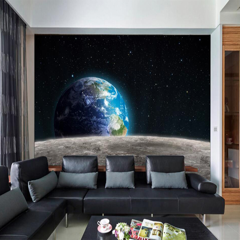 Custom Any Size Modern HD photo wallpaper Space Earth 3D universe for large Hotel room Sofa TV backdrop Wallpaper mural painting custom 3d stereoscopic large mural space living room sofa bedroom tv backdrop 3d wallpaper woods nature