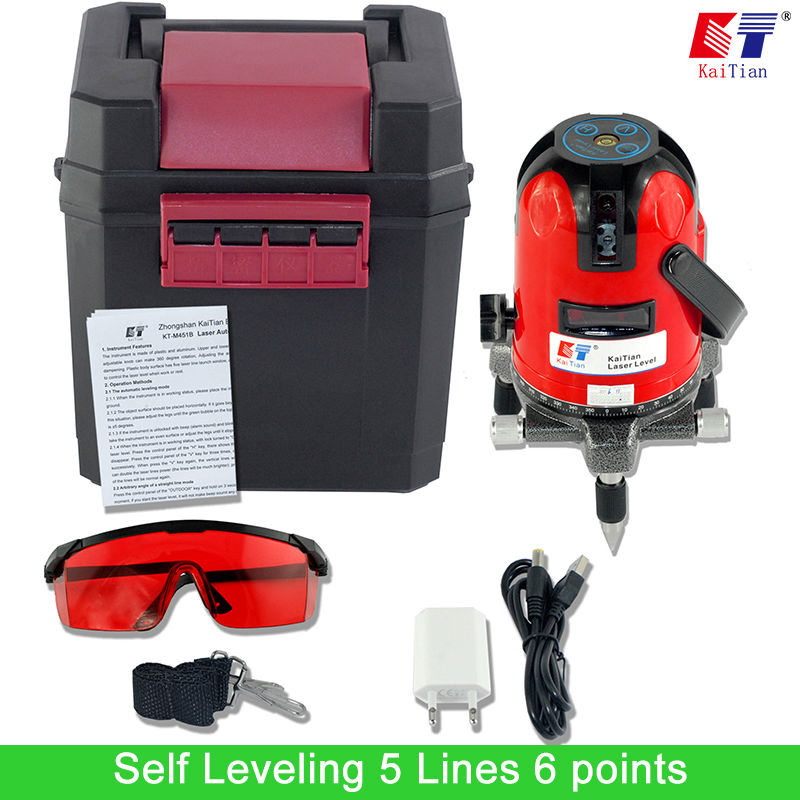 KaiTian Laser Level 5 Lines 6 Points Level Tilt Function 360 Rotary Self Lleveling Outdoor EU
