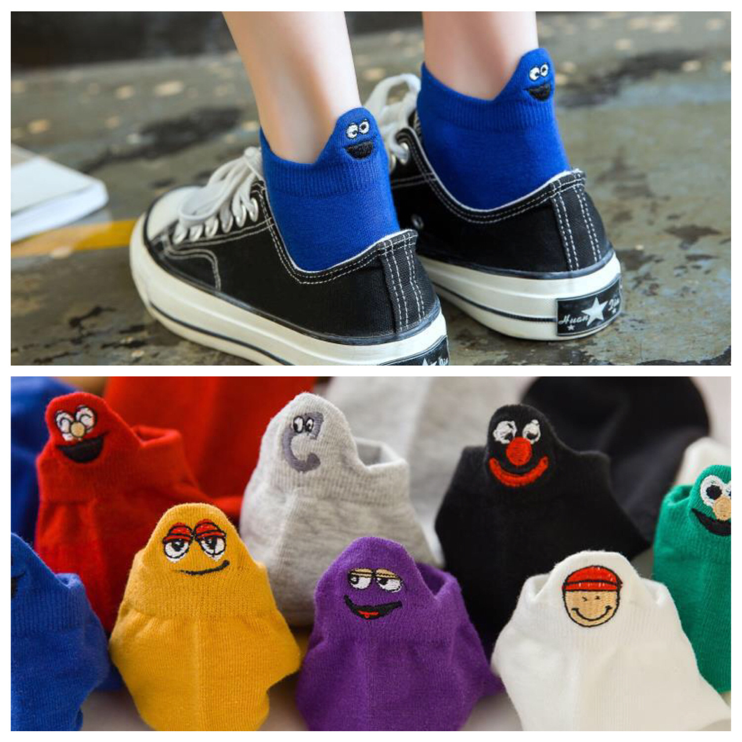 Embroidered Expression Women Socks Happy Fashion Ankle Funny Cotton Summer 1 Pair Candy Color