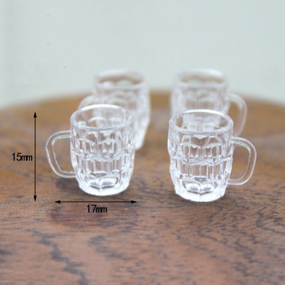 4Pcs 1/12 Dollhouse Miniature Accessories Mini Resin Wine Glass Simulation Drink Cup Model Toys For Doll House Decoration