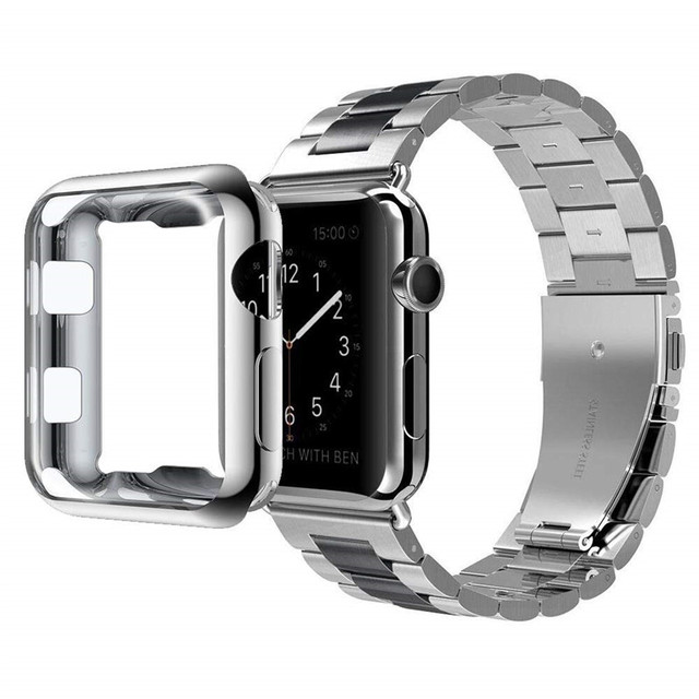 Stainless Steel Bracelet for Apple Watch Bands Series 4 40mm 44mm Wrist Strap with TPU Soft Case Cover for iWatch 2/3 38mm 42mm