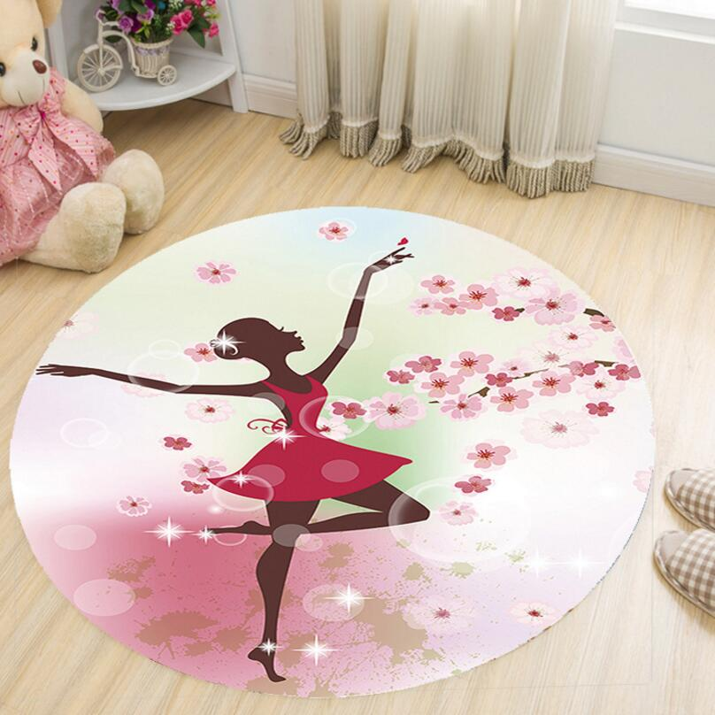 Dance Girl 3D Print Kids Bedroom Round Creeping mat Living Room Floor Carpet Tea Table Rug Anti-skid Computer Chair Foot Pad