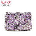 NATASSIE Women Luxury Crystal Evening Clutch Bag Flowers and Butterflies Rhinestone Wedding Clutch Handbag Gold Purple L2016