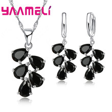 Anniversary Gift For Women Trendy 925 Sterling Silver Jewelry Sets Cubic Zirconia Pendants Necklaces Charm Hoop Earrings(China)
