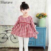 Hurave outono e Inverno novo das crianças meninas roupas de algodão Coreano casaco de malha ocasional folha de lótus princesa costura vestido