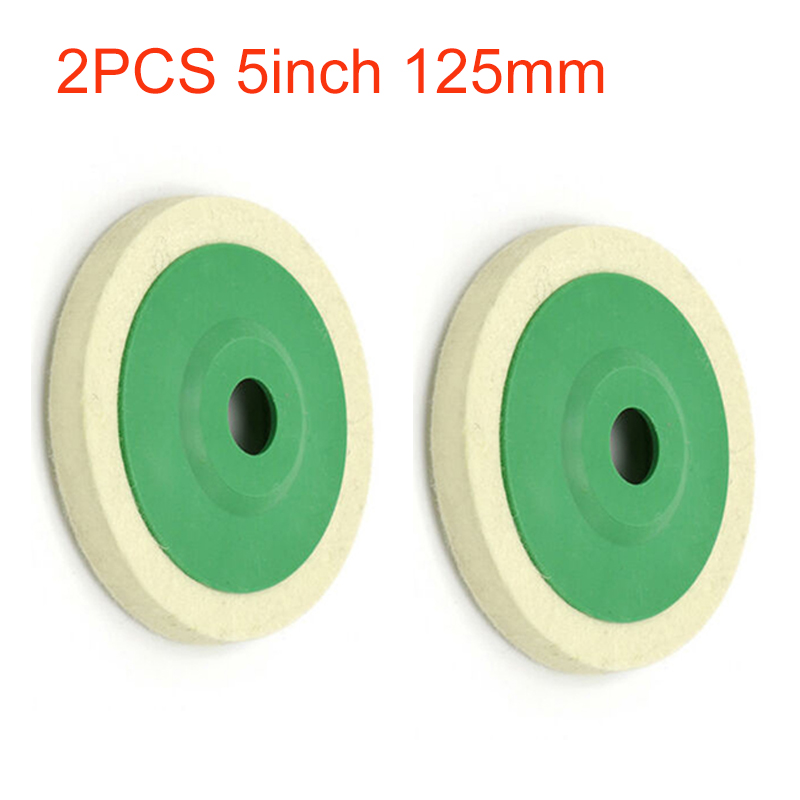 Buffing 125mm Polishing Pads Cleaning Tool Polisher Glass Replacement Spare 2pcs Wool Felt Wheel 12mm Thickness