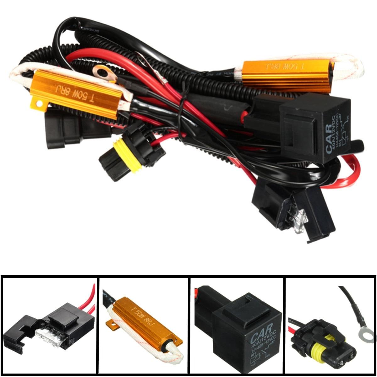 Faisceau de câblage relais 40A résistance à la charge 50W | H1 H7 H11 9005 9006 H3 pour phare HID