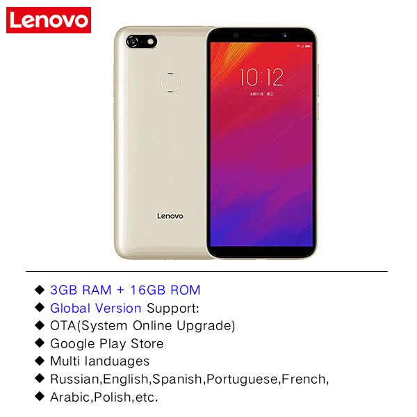 Global Version Lenovo A5 3GB RAM 16GB ROM 4G-LTE Android 8 1 Mobile Phone  5 45' MTK6739 Quad Core Fingerprint 13 0MP Cellphone