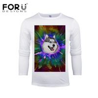 FORUDESIGNS Funny T Shirts 3D Husky Prints Tops For Men Brand Clothing Male Bodybuilding Slim Fit