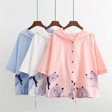 2019 Summer Autumn Causal Cute Cartoon Cat Printing Hooded Girls Thin Coats Loose Cotton And Linen Jacket Windbreaker For Women