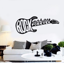 Art  Wall Sticker Rock Forever Guitar Room Decorative Vinyl Removeable Home Decor Poster Beauty Mural LY88