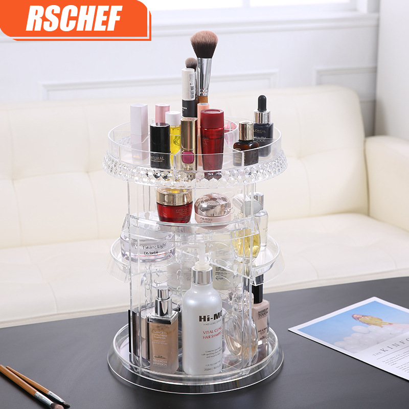 1 pièces femmes boîte de rangement fonctionnelle maquillage organisateur écologique acrylique boîte de rangement cosmétiques 360 degrés rotation conteneur