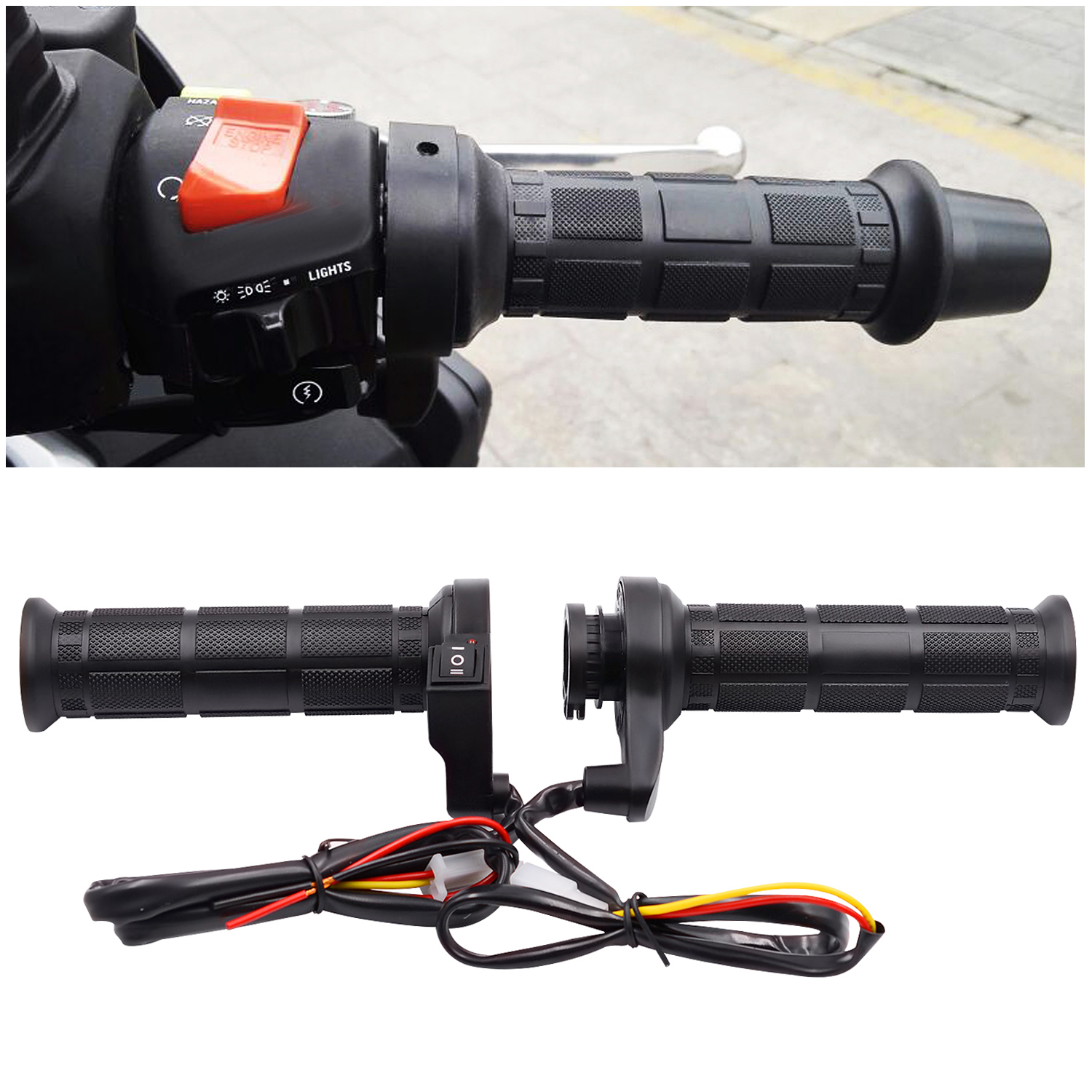 1 Pair 12V 25W 22MM Motorcycle Handlebar Universal Adjustable Temperature Electric Heated Handle with Switch