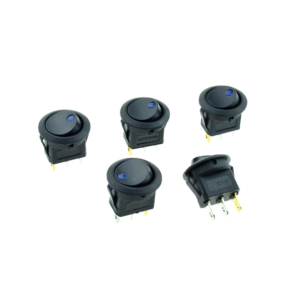 5PCS 12VDC 16A Blue Led Dot Light Round Rocker Switch illuminated Lights 3Pin SPST 2Position ON/OFF 20mm Snap-in Panel Mount yellow led on off rocker switch w terminal protector set for electric appliances 2 pcs