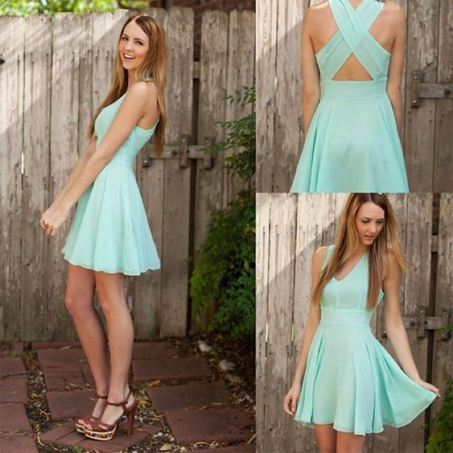Cheap Mint Green Homecoming Dresses 2016 Charming Chiffon V-neck Cross Back Short Party gown Cheap Homecoming Dress