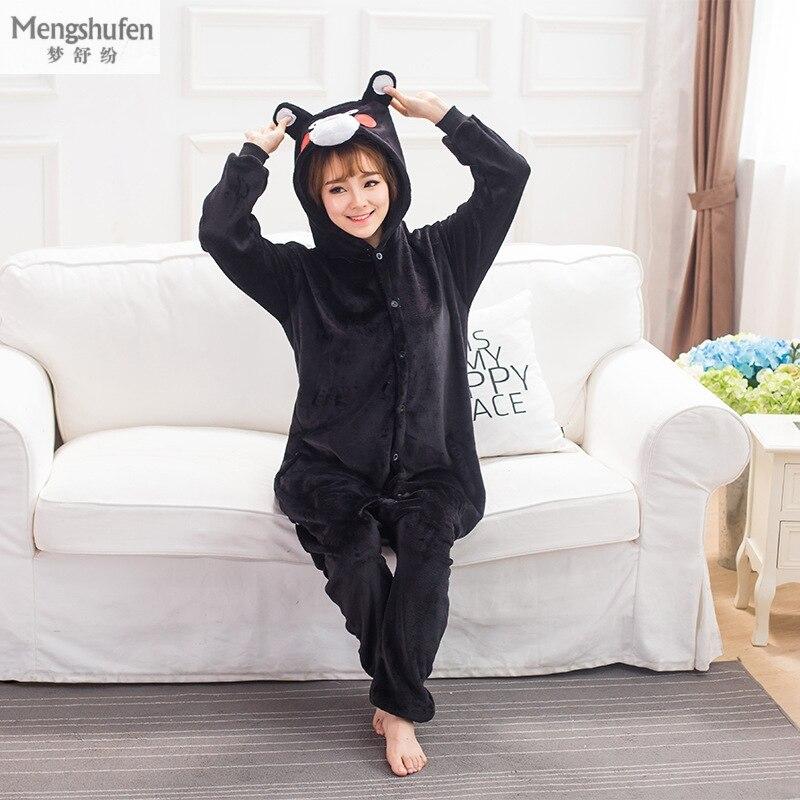 Winter Flannel Warm Animal Pajamas One Piece For Adults Cosplay Cartoon Xiongben County Pyjamas Women Home Couple Pajama SetsQH