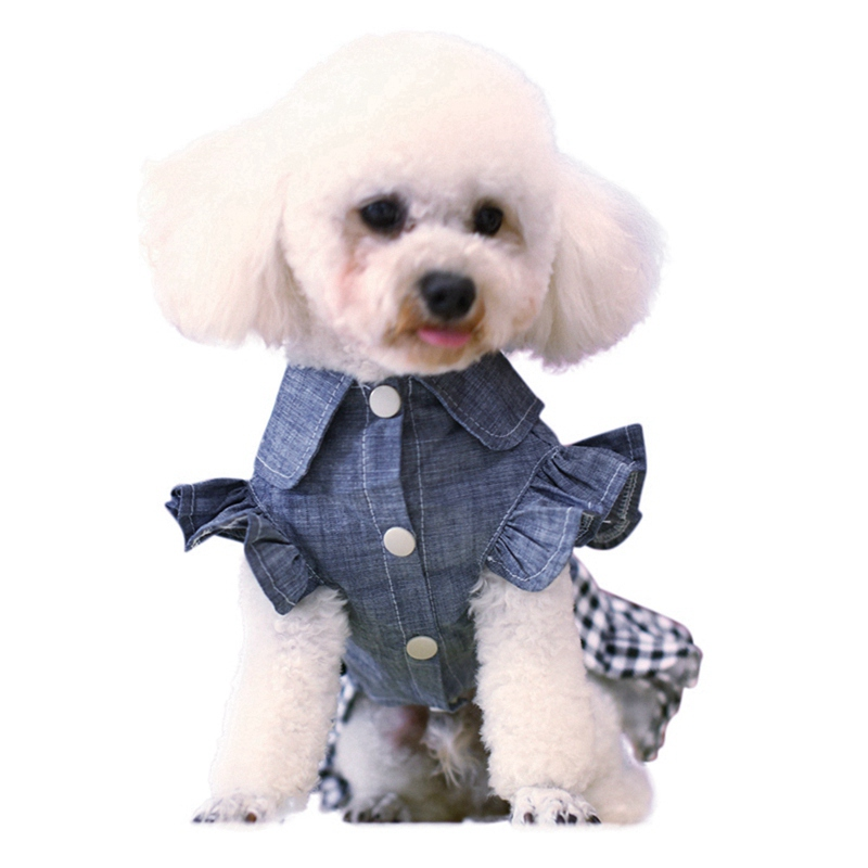 Spring Pet Dog Clothes Dog Denim Dress Jeans Skirt Small Dog Dress Puppy Clothes Chihuahua Yorkies Teddy Pet Clothing 9