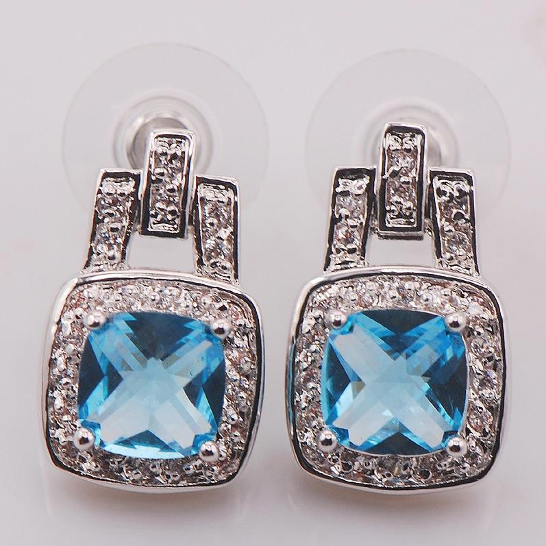Simulated Aquamarine Woman 925 Sterling Silver Crystal Earrings TE466