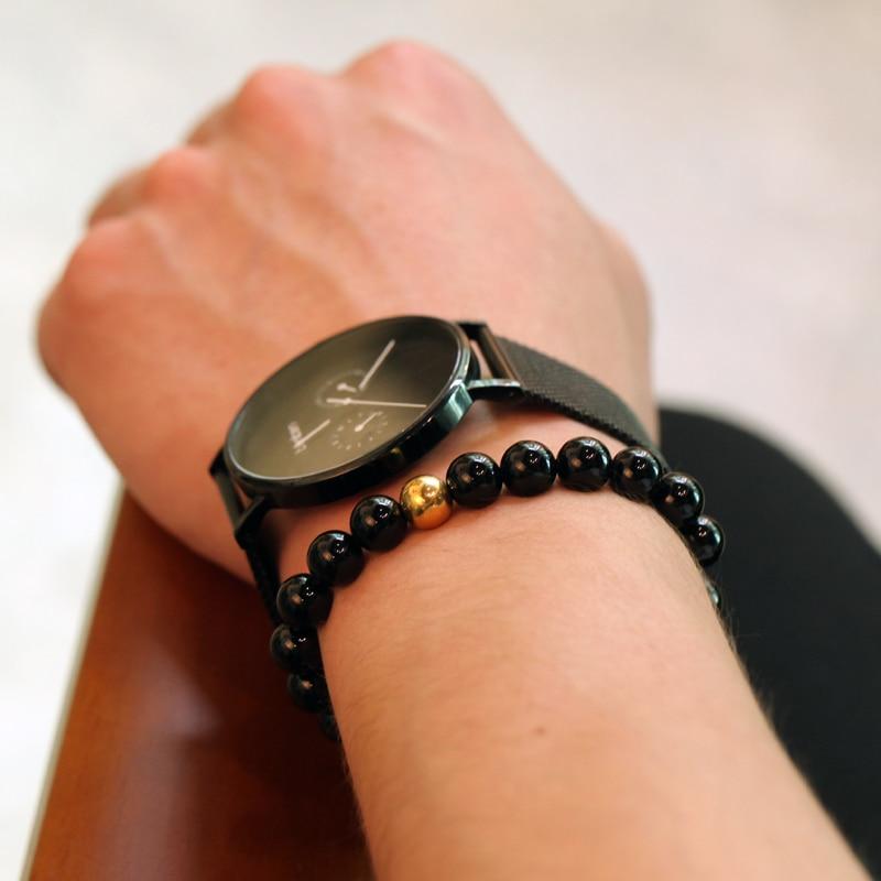 Magic Fish Beaded bracelet men 8mm Natural round stone beads Bracelets & Bangles Friendship charm bracelets erkek bileklik Gift