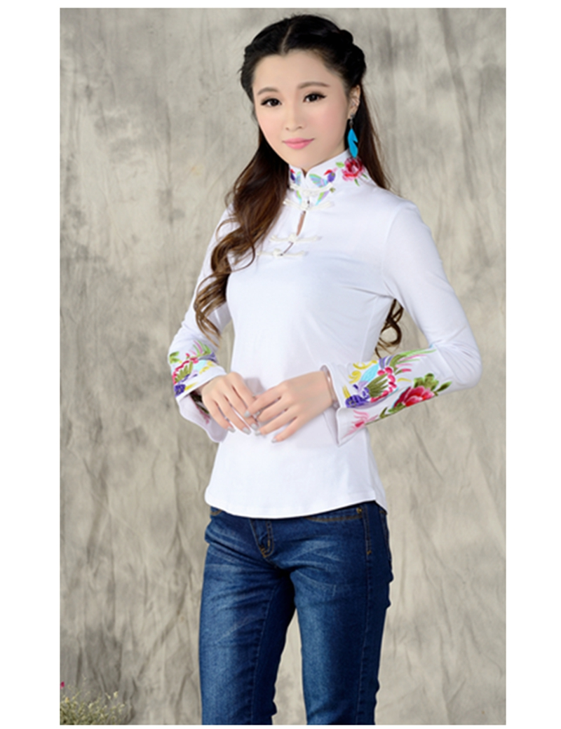 2017 spring chinese style mandarin collar t shirt women for Large shirt neck size