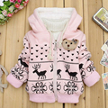 Christmas Deer Print Coat Pink Baby Girls Winter Warm Coat Jacket Hooded Cartoon Dot Children Toddler Kids Cotton-padded Clothes