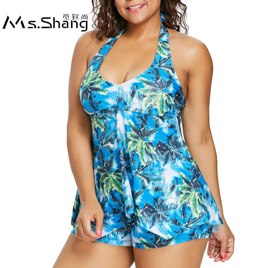 a829685900ee6 Ms.Shang 2019 Print Plus Size Swimwear Push Up Swimsuit Two Piece Tankini  Halter Top Swim Wear with Trunk Bathing Suit Women 5XL-in Body Suits from  Sports ...