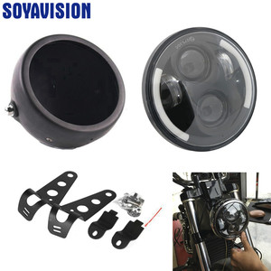 Image 3 - Универсальный светодиодный головной фонарь для автомобиля и мотоцикла, 5, 3/4 дюйма, 5,75 дюйма, H4, фара головного света для мотоцикла, фара головного света для Harley indian scout Honda