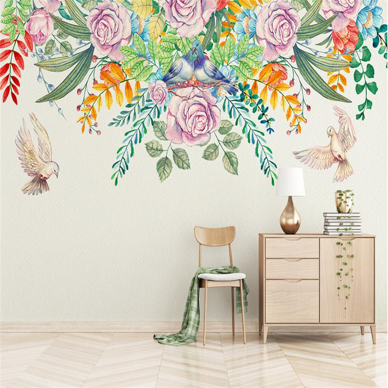 Wallpaper Birds Flowers Custom Modern Hand Painted Rural Plant Wall Papers Home Decor TV Background Wall Mural Wallpaper Thick