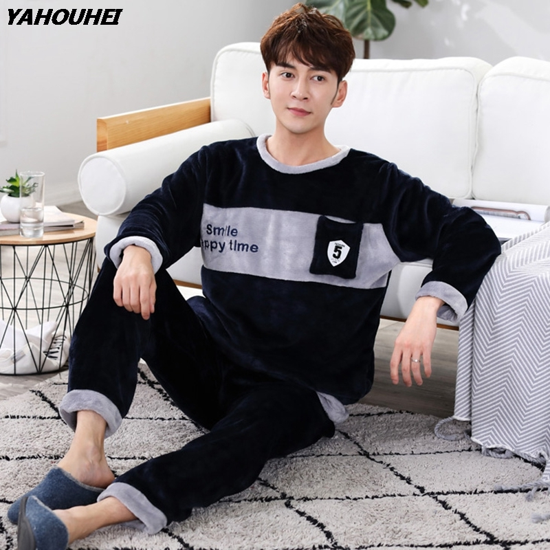 2019 Winter Thick Warm Flannel Pajama Sets For Men Long Sleeve Coral Velvet Pyjama Male Sleepwear Homewear Clothes Pijama Hombre