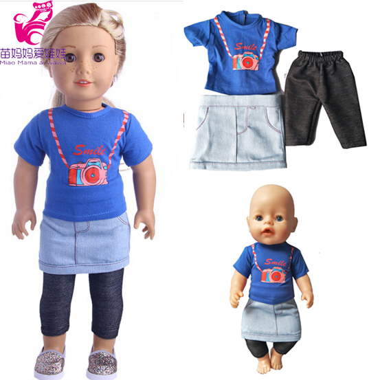 Blue shirt+ Jean short dress+black pants set for 43cm Zapf Baby Born dolls for 18 inch 45CM American girl doll outsuit pink wool coat doll clothes with belt for 18 american girl doll