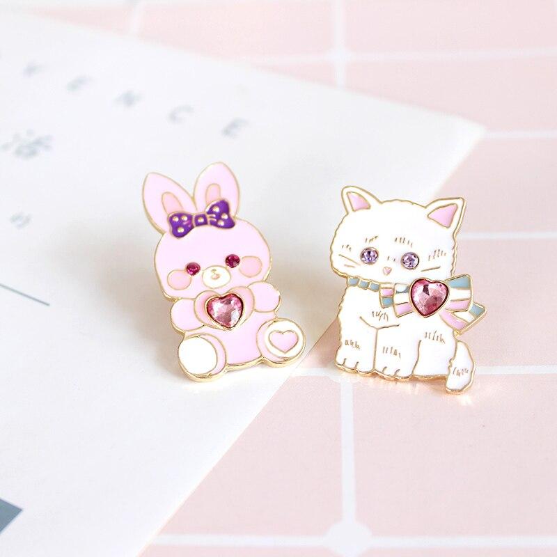 Бесплатная доставка мультфильм милый кролик кот брошь Шпильки знак Джинсы для женщин Сумка Одежда ювелирные украшения для Для женщин подарок, оптовая продажа