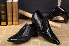 Mens patent leather pointed toe dress shoes black crocodile skin men iron office wedding spiked loafers