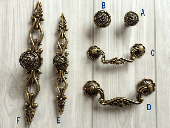 Dresser Knobs Drawer Pulls Handle Sunflower Antique Bronze