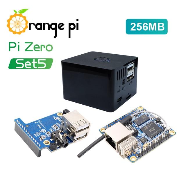 Оранжевый Pi Zero 256MB + плата расширения + черный чехол, мини набор с одной доской