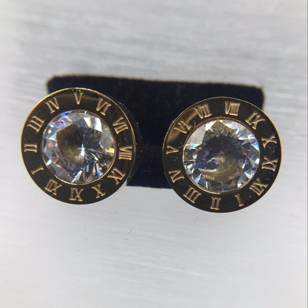 Fashion Jewelry never fading 18KGF gold filled 316L Stainless Steel cubic zircon Roman numerals Stud Earrings men Women