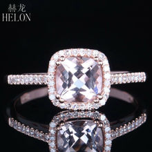 HELON Solid 10K Rose Gold Pave 0.817CT Morganite Cushion Shape Halo Setting Natural Diamond Wedding Women's Jewelry Fine Ring
