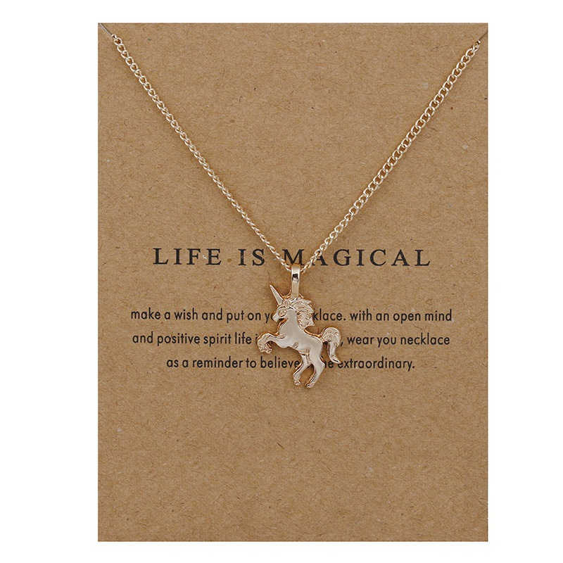 New Fashion Jewelry Life Is Magical Unicorn Horse Alloy Clavicle Statement Necklace For Women Girl Gift Choker Necklace Pendant