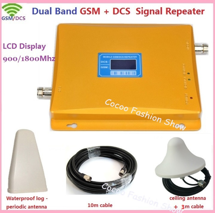 Dual Band ретранслятор GSM, 3G GSM 4G 900 1800 мГц мобильный телефон сигнал повторителя Booster GSM DCS сотовый телефон усилитель сигнала + антенна