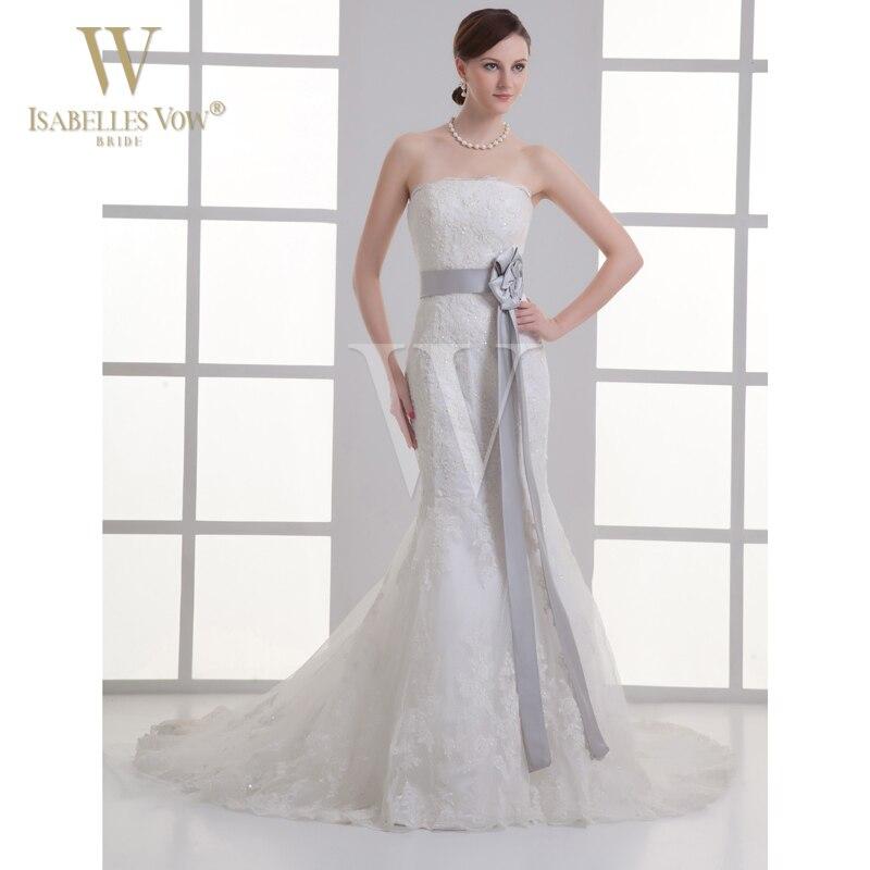 White Mermaid Wedding Dresses With Light Grey Bow Folwer Church ...