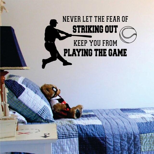 Baseball Lassen sie Die Angst Vor der Markante Out Wandtattoo Vinyl ...