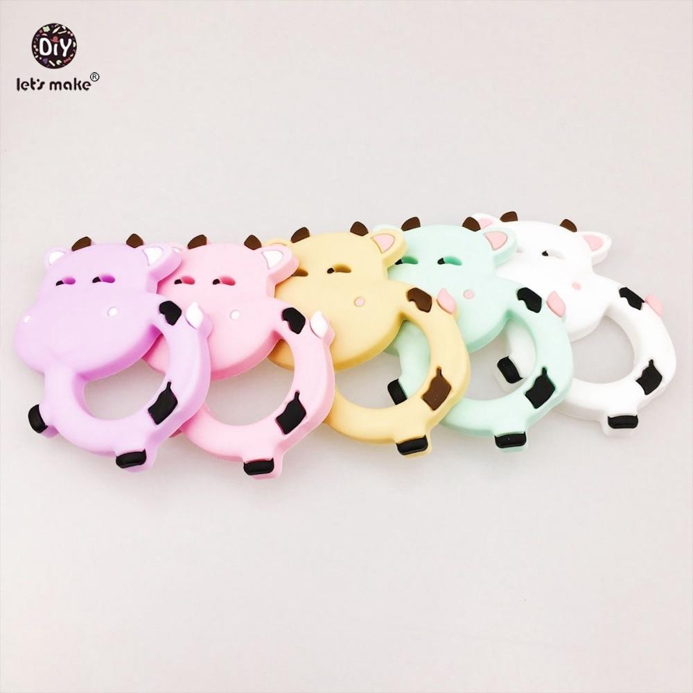 Låt oss göra Baby Tillbehör Silikon Toner Kor 5pc BPA Gratis Mjölk Cow Tändning Diy Nursing Halsband Mjölk Cow Baby Teether