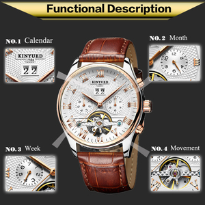 Image 2 - KINYUED Mens Self Wind Tourbillon Mechanical Watches Water Resistant Automatic Skeleton Watch Men Relojes Hombre 2019 Dropship