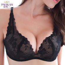 PAERLAN Seamless Wire Free Lace Floral Boobs Push Up black Bra Deep V Sexy Tow Hook and eye Boobs  Back Closure Underwear Women
