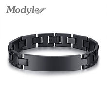 Modyle 2019 New Personalized Stainless Steel ID Bracelet Watch Brands Men's Black Color Bangle(China)