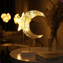 JSEX LED Night Light Desk Table Reading Lamp Star Moon Heart Christmas Tree Holiday Lighting Rattan Lights Battery Operated